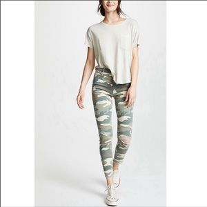 MOTHER high waisted looker ankle fray camo jeans